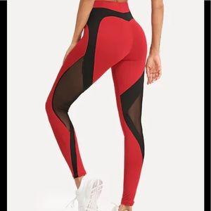 Pants - ✨LAST PAIR✨ Red Contrast Mesh Skinny Leggings